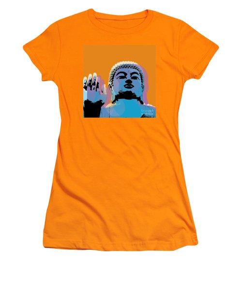 Women's T-Shirt (Junior Cut) featuring the digital art Buddha Pop Art - Warhol Style by Jean luc Comperat