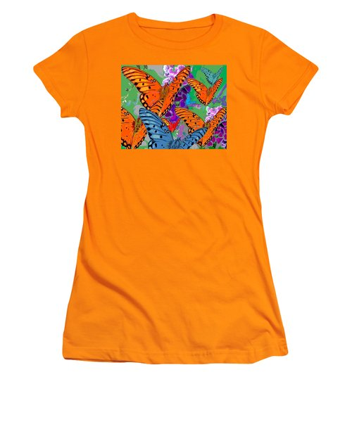 Women's T-Shirt (Junior Cut) featuring the digital art Butterfly Joy by Mary Armstrong