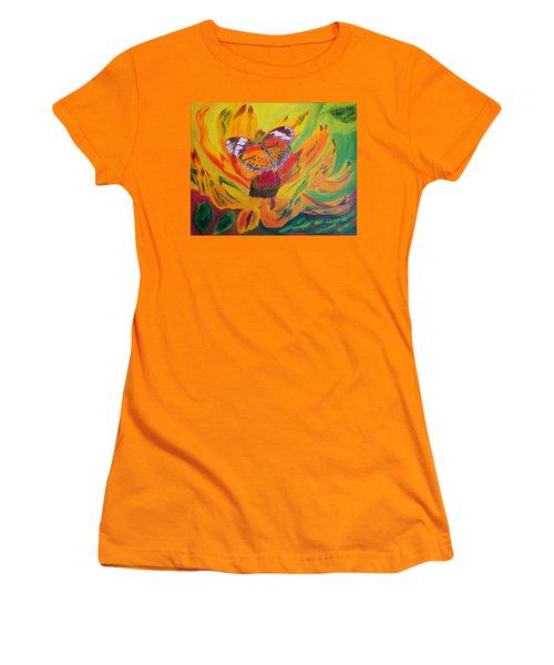 Butterfly Jungle Women's T-Shirt (Junior Cut) by Meryl Goudey