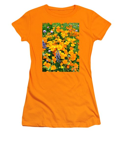 California Poppies And Betham Lupines Southern California Women's T-Shirt (Athletic Fit)