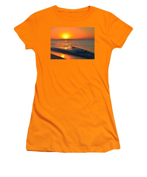 Calm And Clear Sunrise On Navarre Beach With Small Perfect Wave Women's T-Shirt (Junior Cut) by Jeff at JSJ Photography