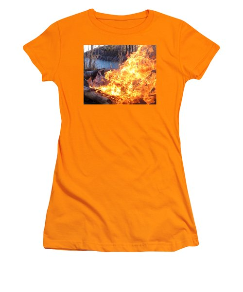 Women's T-Shirt (Junior Cut) featuring the photograph Campfire by James Peterson