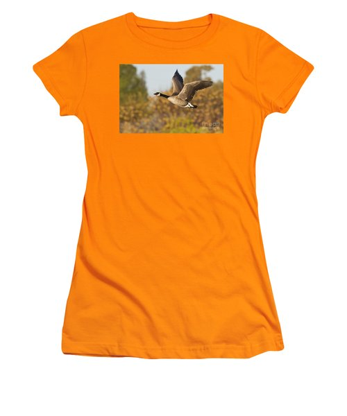 Women's T-Shirt (Junior Cut) featuring the photograph Canada Goose In The Skies  by Bryan Keil