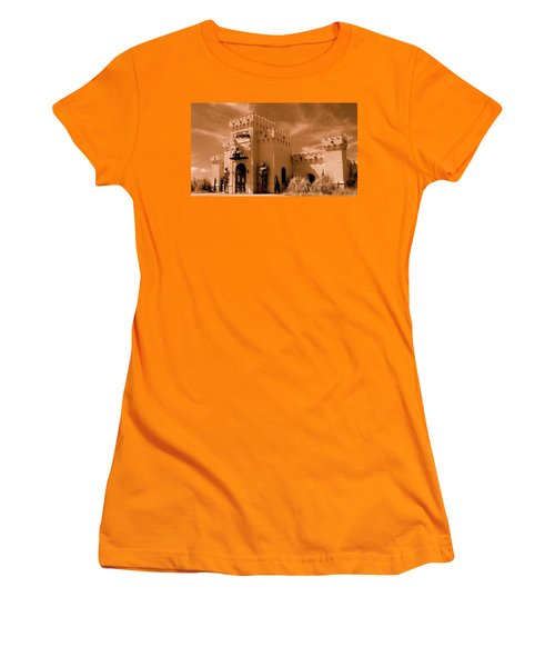 Women's T-Shirt (Junior Cut) featuring the photograph Castle By The Road by Rodney Lee Williams