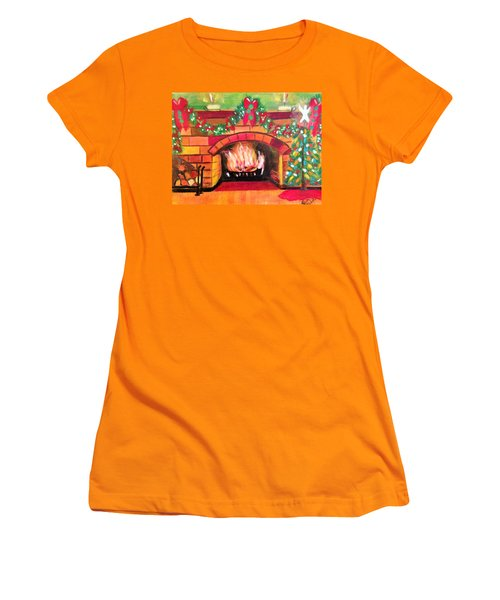 Christmas At The Cabin Women's T-Shirt (Junior Cut) by Renee Michelle Wenker
