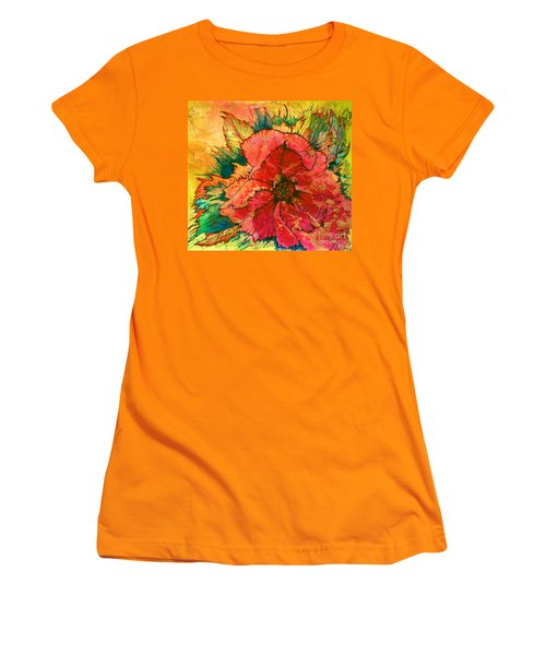 Christmas Flower Women's T-Shirt (Junior Cut) by Nancy Cupp