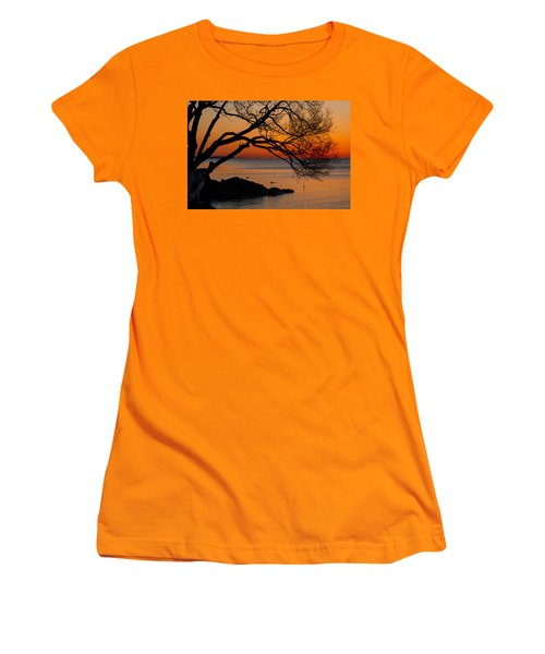 Colorful Quiet Sunrise On Lake Ontario In Toronto Women's T-Shirt (Athletic Fit)