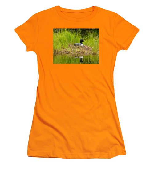 Women's T-Shirt (Junior Cut) featuring the photograph Common Loon Nesting by Brenda Jacobs
