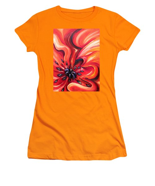Women's T-Shirt (Junior Cut) featuring the painting Consuming Fire by Meaghan Troup