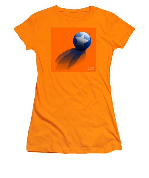 Women's T-Shirt (Junior Cut) featuring the digital art Blue Ball Decorated With Star Orange Background by R Muirhead Art