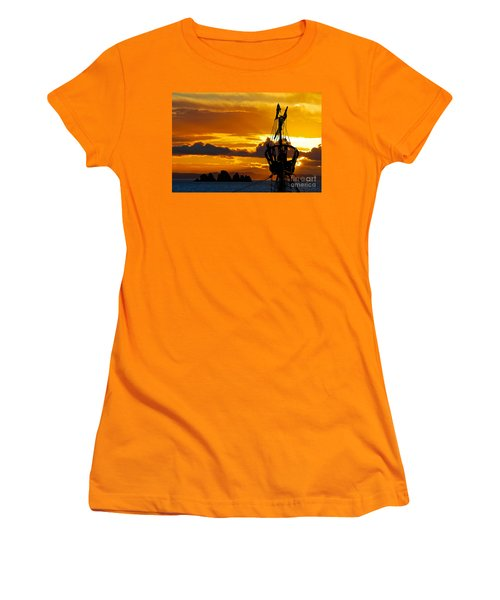 Crows Nest Silhouette On Newfoundland Coast Women's T-Shirt (Athletic Fit)