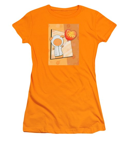 Women's T-Shirt (Junior Cut) featuring the photograph Cute Lots Of Love Love You Cute Character Holding A Love Balloons  by Lenny Carter