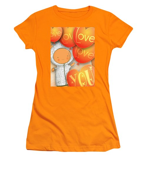 Women's T-Shirt (Junior Cut) featuring the photograph Cute Teddy With Lots Of Love Balloons by Lenny Carter