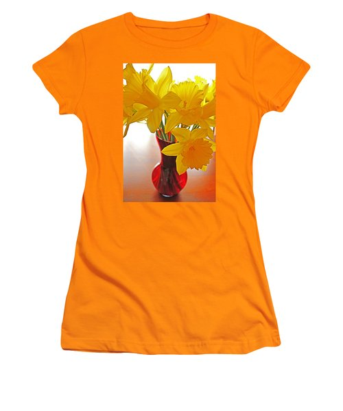 Women's T-Shirt (Junior Cut) featuring the photograph Daffodils In Red Vase by Diane Alexander
