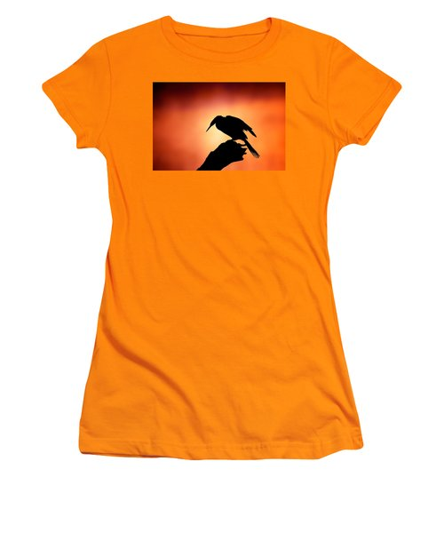 Darter Silhouette With Misty Sunrise Women's T-Shirt (Athletic Fit)