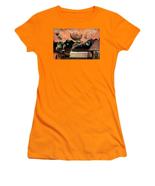 Women's T-Shirt (Junior Cut) featuring the mixed media Dolphin Dreams by Ally  White