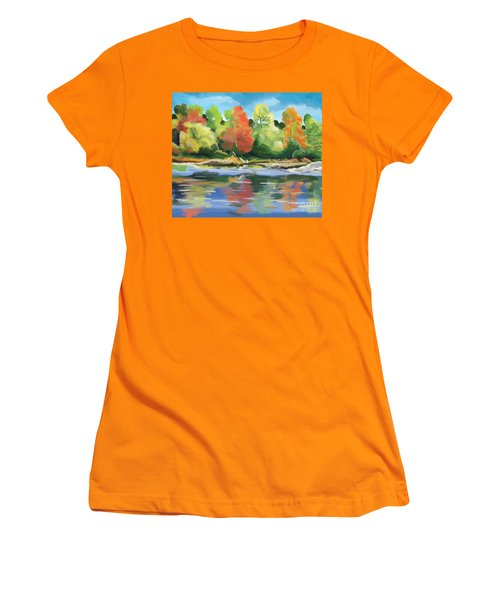 Women's T-Shirt (Junior Cut) featuring the painting Down By The River by Tim Gilliland