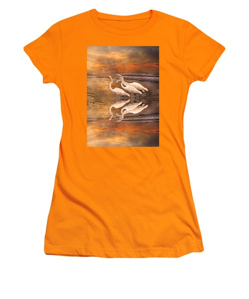 Dreaming Of Egrets By The Sea Reflection Women's T-Shirt (Junior Cut) by Betsy Knapp