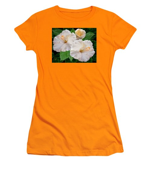Dreamy Blooms - White Hibiscus Women's T-Shirt (Athletic Fit)