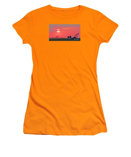 Women's T-Shirt (Junior Cut) featuring the photograph Rising Full Moon In Oklahoma by Janette Boyd
