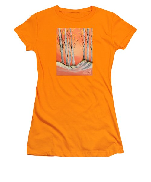 Women's T-Shirt (Junior Cut) featuring the painting Early Winter Aspen by Janice Rae Pariza