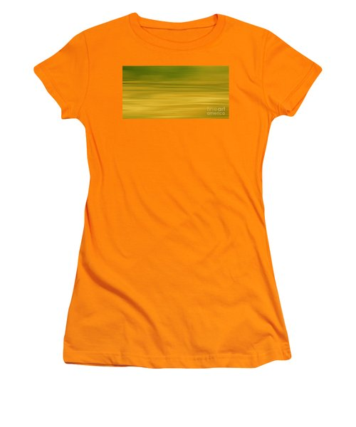 Women's T-Shirt (Junior Cut) featuring the digital art Abstract Earth Motion Lemon Grass by Linsey Williams