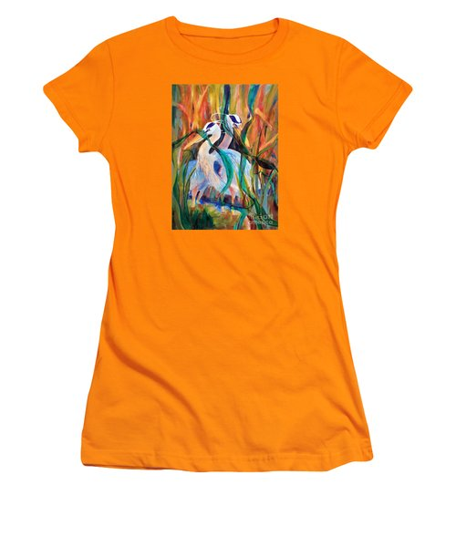 Egrets In Red 2            Women's T-Shirt (Junior Cut) by Kathy Braud