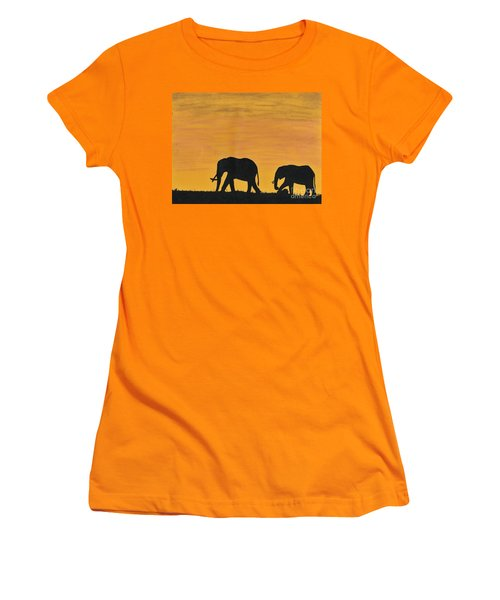Elephants - At - Sunset Women's T-Shirt (Junior Cut) by D Hackett
