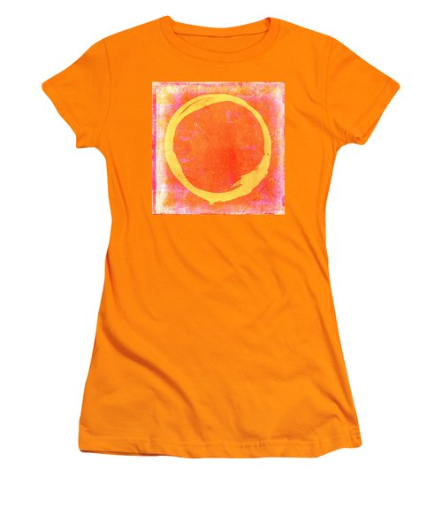 Enso No. 109 Yellow On Pink And Orange Women's T-Shirt (Athletic Fit)