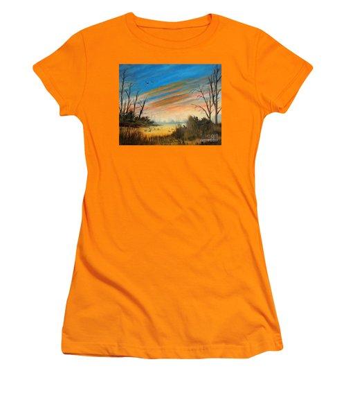 Evening Duck Hunt Women's T-Shirt (Junior Cut) by Bill Holkham