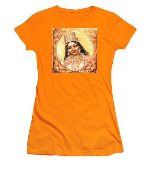 Women's T-Shirt (Junior Cut) featuring the mixed media Face Of The Goddess - Lalitha Devi  by Ananda Vdovic