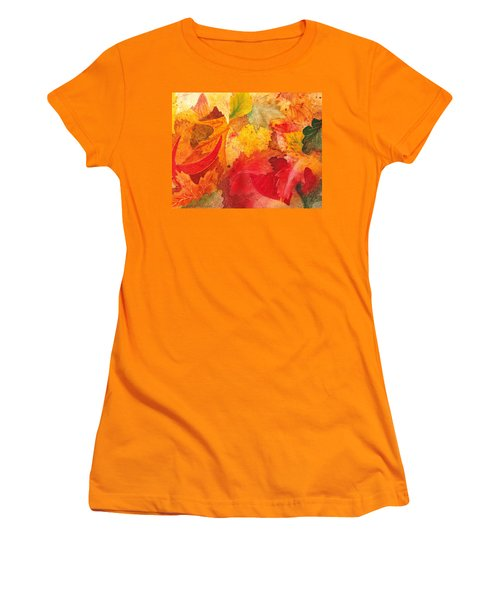 Women's T-Shirt (Athletic Fit) featuring the painting Feeling Fall by Irina Sztukowski