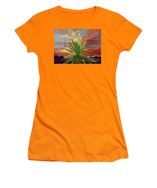Fire Sky Desert Blooming Yucca Women's T-Shirt (Athletic Fit)