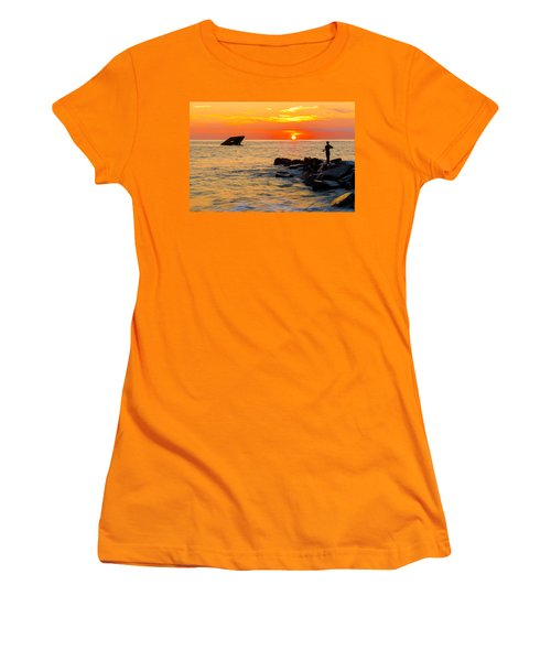 Fishing At Sunset Women's T-Shirt (Athletic Fit)