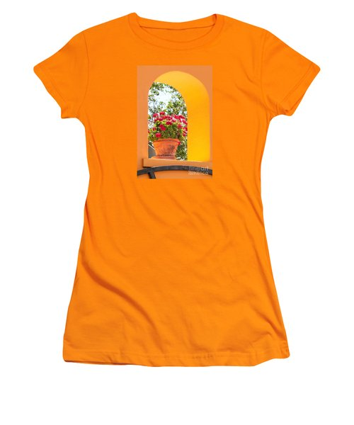 Women's T-Shirt (Athletic Fit) featuring the photograph Flowerpot In A Mexican Wall by David Perry Lawrence