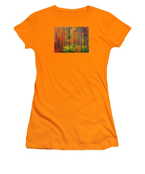 Women's T-Shirt (Junior Cut) featuring the painting Forest In The Fall by Bruce Nutting