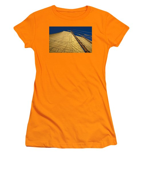 Women's T-Shirt (Junior Cut) featuring the photograph Gaff Rigged Mainsail by Marty Saccone