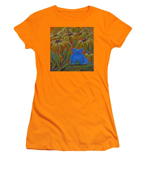 Women's T-Shirt (Junior Cut) featuring the painting Garden Secrets by Karen Ilari