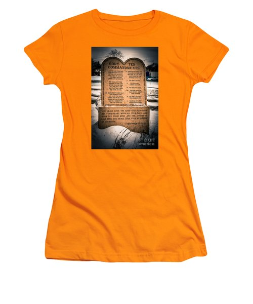God's Ten Commandments Women's T-Shirt (Athletic Fit)
