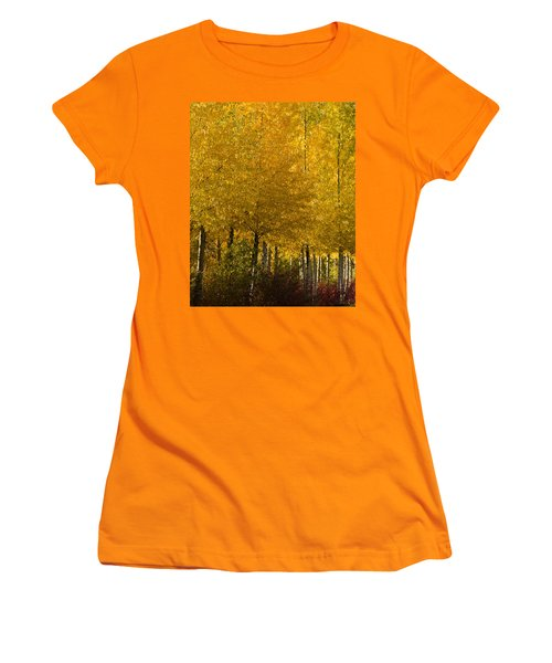 Women's T-Shirt (Junior Cut) featuring the photograph Golden Aspens by Don Schwartz