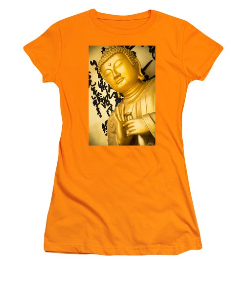 Golden Buddha Statue Women's T-Shirt (Athletic Fit)