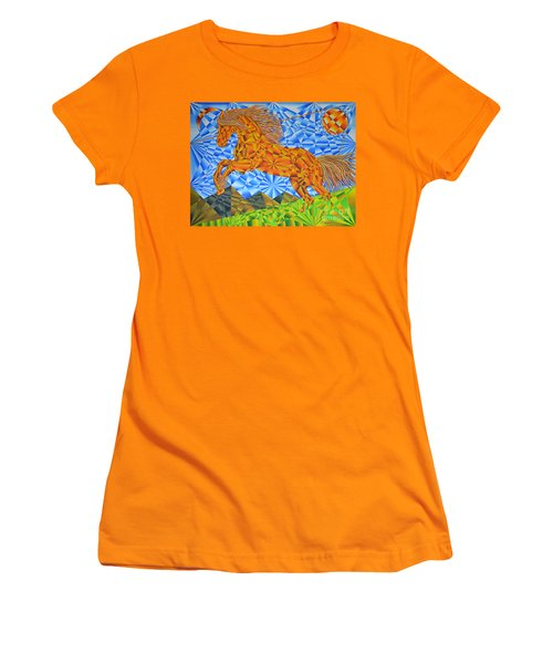Women's T-Shirt (Junior Cut) featuring the painting Golden Horse Over The Bitterroot's by Joseph J Stevens