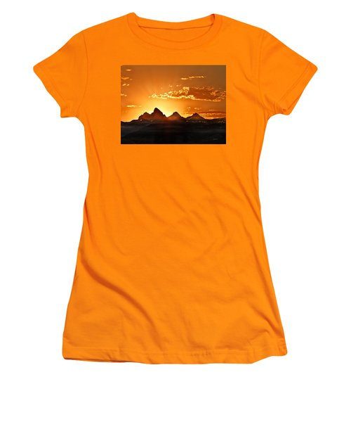 Grand Teton Sunrise Women's T-Shirt (Junior Cut) by Leland D Howard