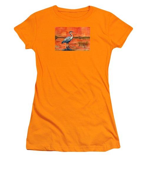 Great Blue Heron In Marsh Women's T-Shirt (Junior Cut) by Melly Terpening