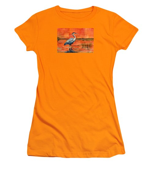 Great Blue Heron In Marsh Women's T-Shirt (Athletic Fit)