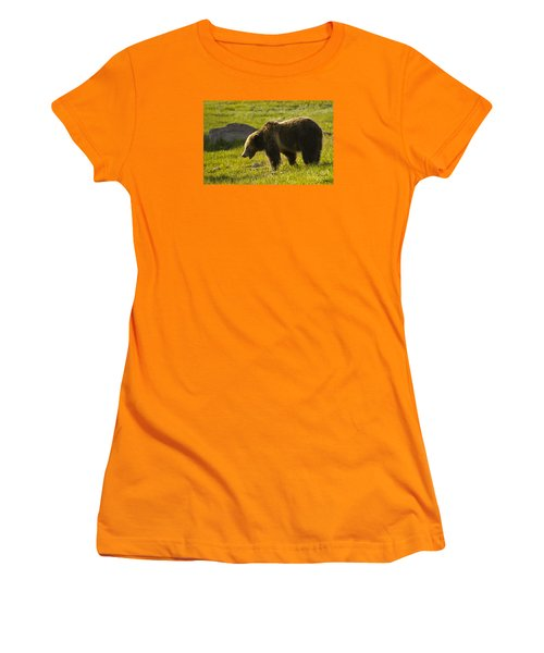 Grizzly Bear-signed-#4535 Women's T-Shirt (Junior Cut) by J L Woody Wooden