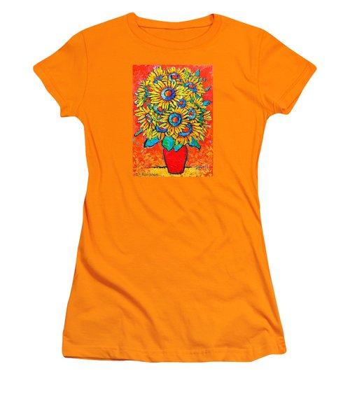 Happy Sunflowers Women's T-Shirt (Junior Cut) by Ana Maria Edulescu