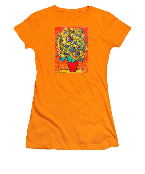 Happy Sunflowers Women's T-Shirt (Athletic Fit)