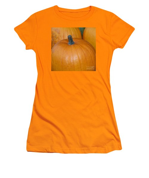 Women's T-Shirt (Junior Cut) featuring the photograph Harvest Pumpkins by Chalet Roome-Rigdon