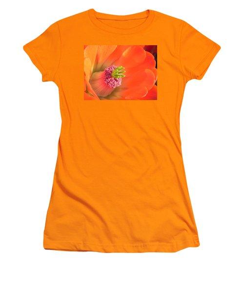 Women's T-Shirt (Junior Cut) featuring the photograph Hedgehog Cactus Flower by Deb Halloran